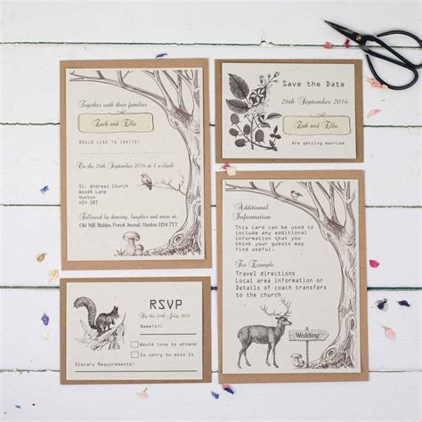 not on the high rustic wedding invitations woodland wedding invitation set by talk of the town notonthehighstreet