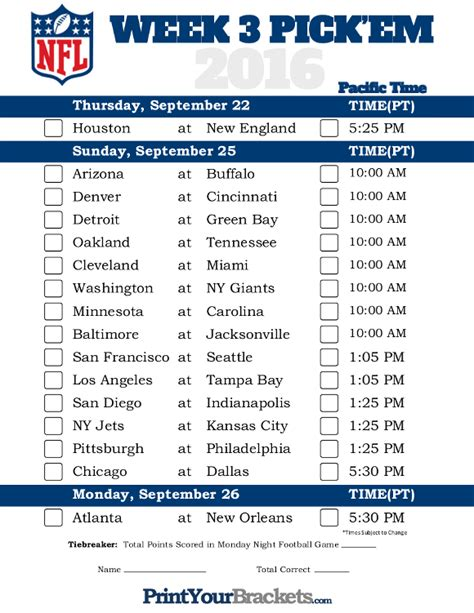 printable nfl schedule for this week pacific time week 3 nfl schedule 2016 printable