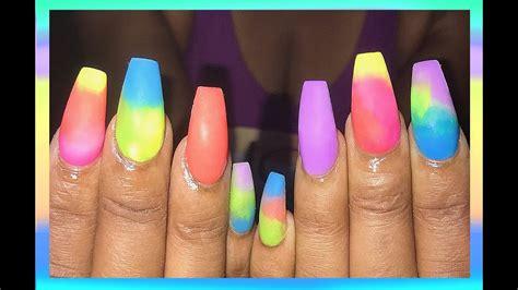 colorful acrylic nails matte summer colors acrylic nails design