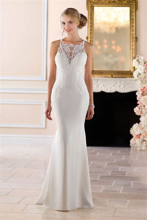 wedding dresses stella york 6404 high neck sheath wedding dress