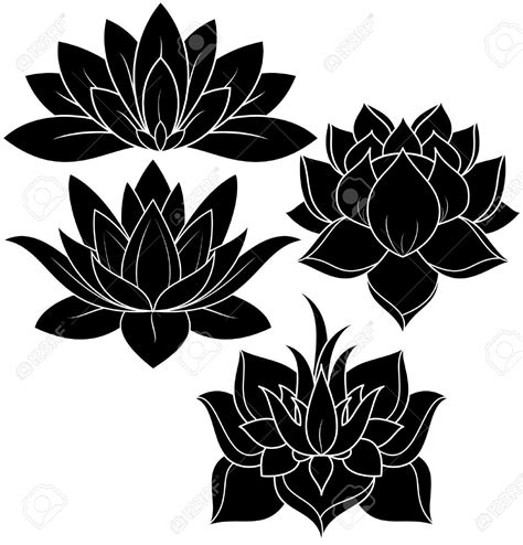 tattoo flower vector illustration of set lotus silhouette stock vector