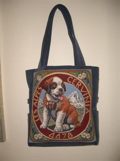 Beautiful Handmade Bags - beautiful handmade bags st bernard pup tote bag