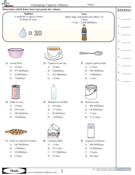 milliliters and liters worksheet humorholics
