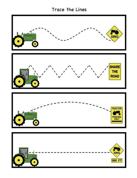printable tracing lines for preschoolers tractor trace the lines kindergarten pinterest