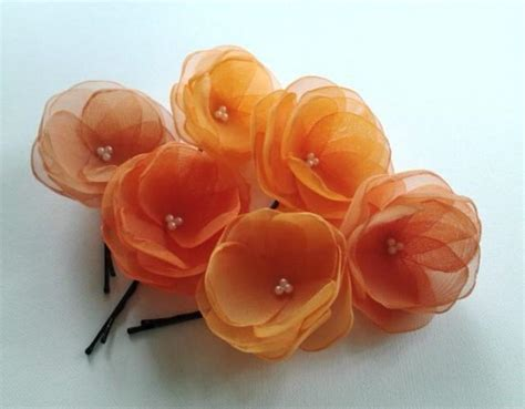 wedding hair accessories orange 6 orange hair pins orange hair flowers orange wedding