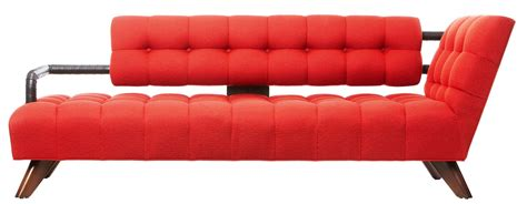 modern red sofa curved red leather chaise lounge chair with unique shape