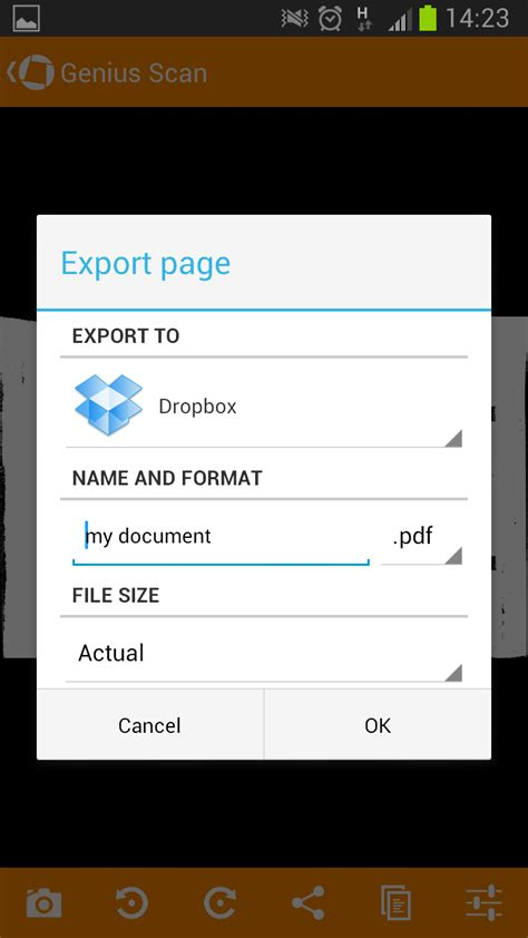 android dialog tutorial for genius scan on android