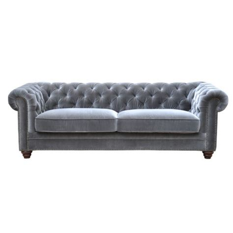 Joshua Chesterfield Sofa Grey Velour Velvet Sofas Velour Chesterfield Sofa