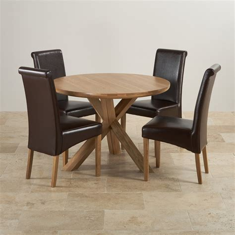 Leather Dining Table Real Oak Dining Set Table 4 Brown Leather Chairs
