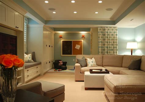 blue basement playroom with powder blue paint color and tray basement ceiling with pot lights