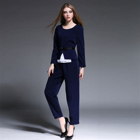 Fashion Blue 2015 fashion runway set blue bow belt trousers suit business suits formal office