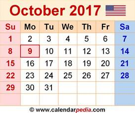 Calendar October 2017 Excel October 2017 Calendar Excel Monthly Calendar 2017