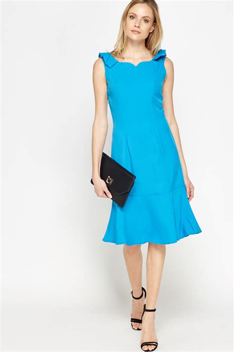 Hem Sabri Blue 4 blue flared hem dress just 163 5