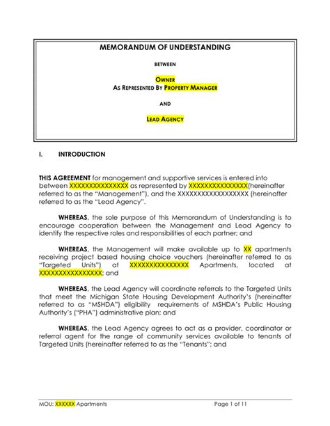 Template Mou by Memorandum Of Understanding Template Free