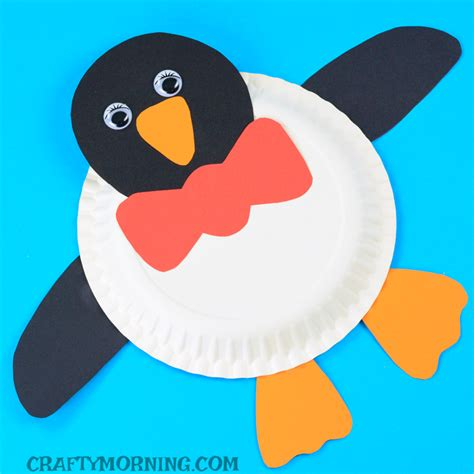 Penguin Paper Craft - paper plate penguin craft crafty morning