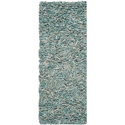 light blue shag rug safavieh leather shag light blue 2 ft 3 in x 9 ft rug