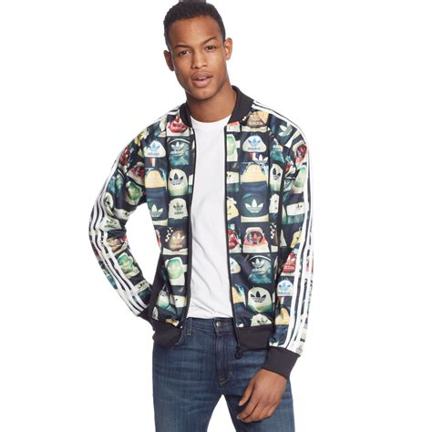 Jaket Adidas Outewear Original Brandedsyndicate 1 adidas originals allover print superstar track jacket in black for lyst