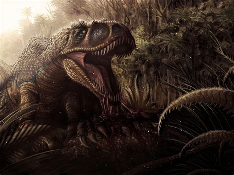 jungle dinosaur jaws teeth blood dark fantasy wallpaper