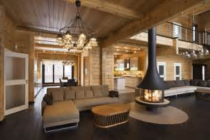 Luxury log home interior quality wooden house from finland