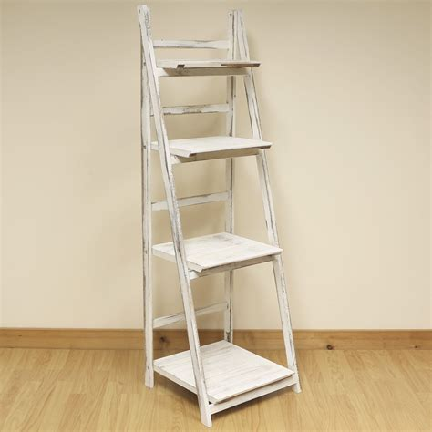 folding display shelves 4 tier white wash ladder shelf display unit free standing folding book shelves shelf display