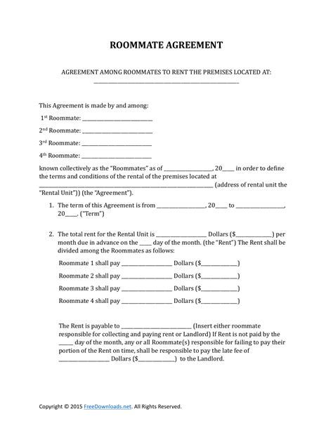 One Page Rental Agreement Template