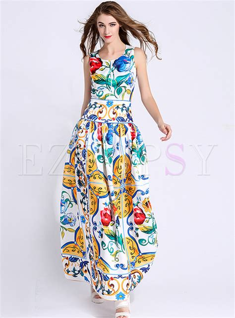 Ethnic Sleeveless Maxi Dress ethnic multicolor print o neck sleeveless maxi dress