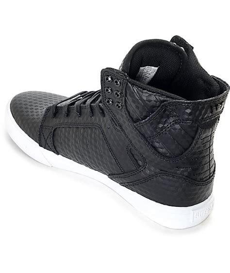 supra skytop black leather cubes skate shoes zumiez