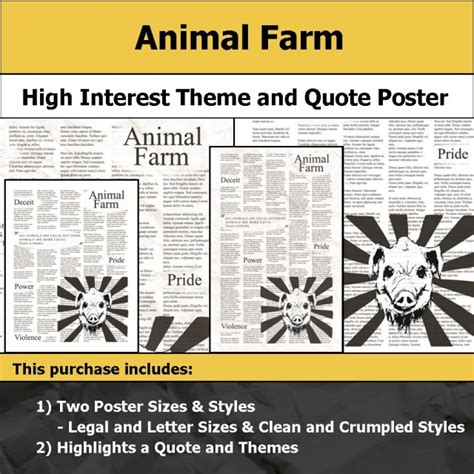 themes in 1984 and animal farm visual theme quote posters