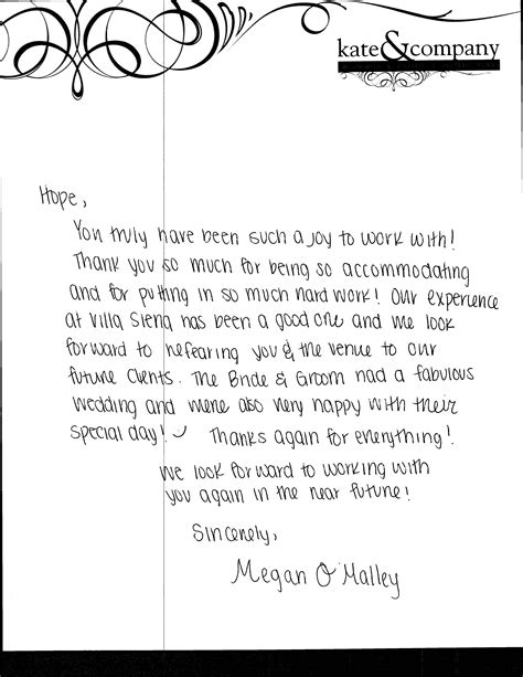 thank you letter to consultant megan o malley s thank you villa siena wedding talk