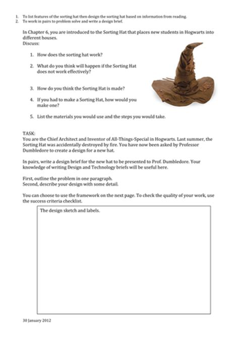 design brief of headgear design brief for harry potter sorting hat by sheilasantha