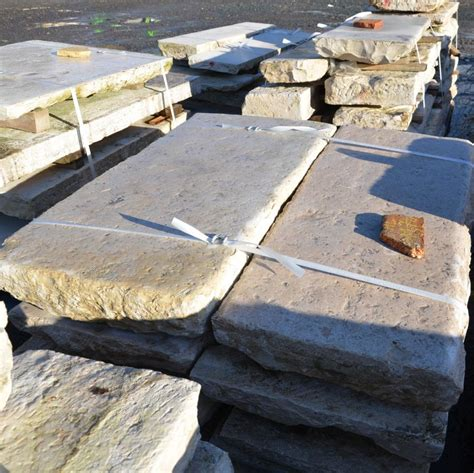 big slabs of antique limestone