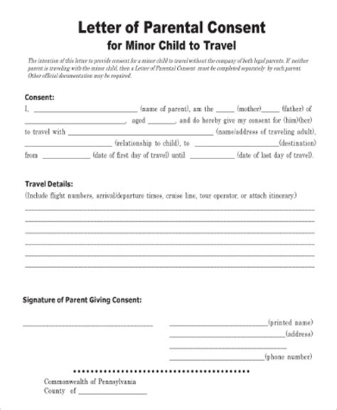 Parental Consent Letter For Doctor Sle Child Travel Consent Form 5 Exles In Word Pdf