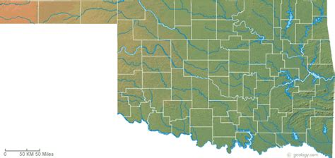 topographical map of oklahoma map of oklahoma
