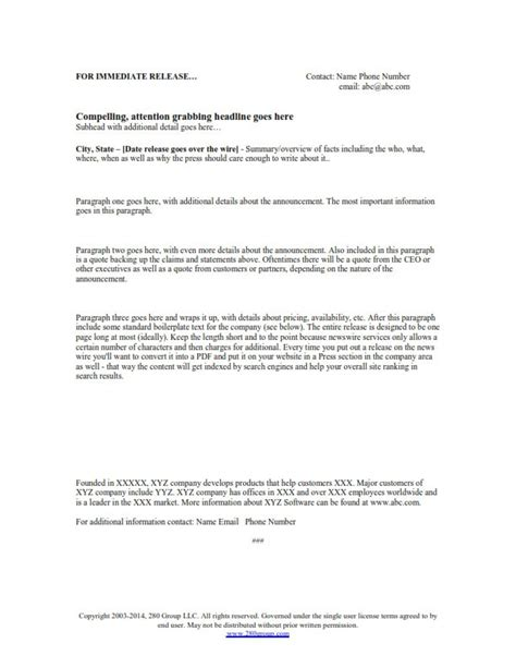 Free Press Release Template 280 Group Free Sle Press Release Template