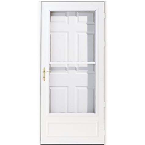 pella retractable screen door shop pella helena white mid view safety retractable screen storm door common 30 in x 81 in