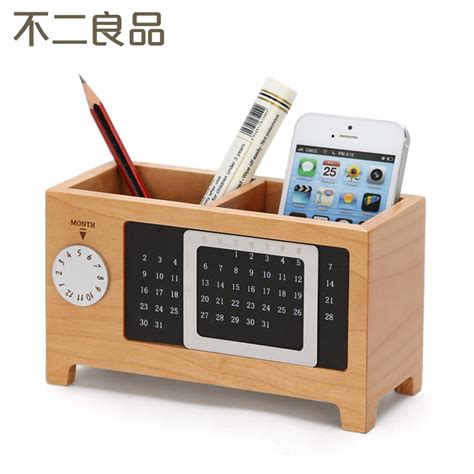 Office Desk Supply Wooden Pen Creative Fashion Office Supplies Stationery Desk Box Wood Ornaments Office