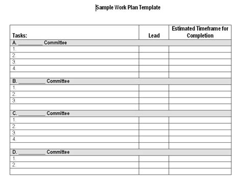 work plan template word volunteer work plan template calendar template 2016