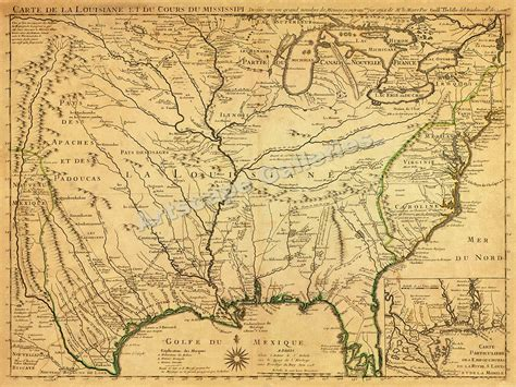 louisiana historical map america 1718 louisana territory historic map 18x24