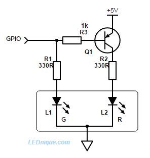 led common cathode circuit 1 gpio bi colour led common cathode lednique