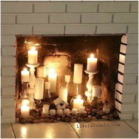 fireplace display rustic faux fireplace candle display livin la vida lo