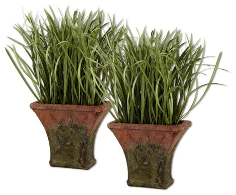 Indoor Grass Planters by 60025 Potted Silk Grass Set 2 By Uttermost Modern Indoor Pots And Planters Los Angeles
