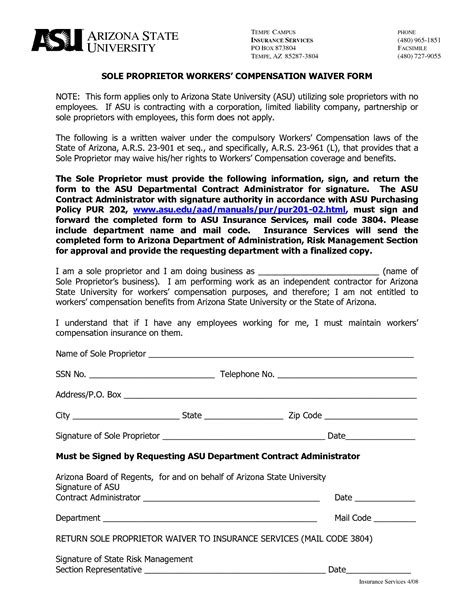 Wcb Release Letter best photos of arizona workers compensation waiver form