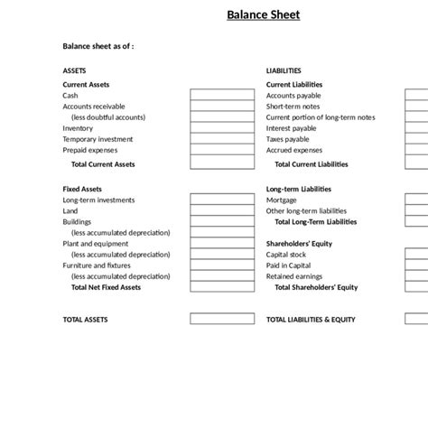 Free Balance Sheet Template Fern Spreadsheet Balance Sheet Template Word