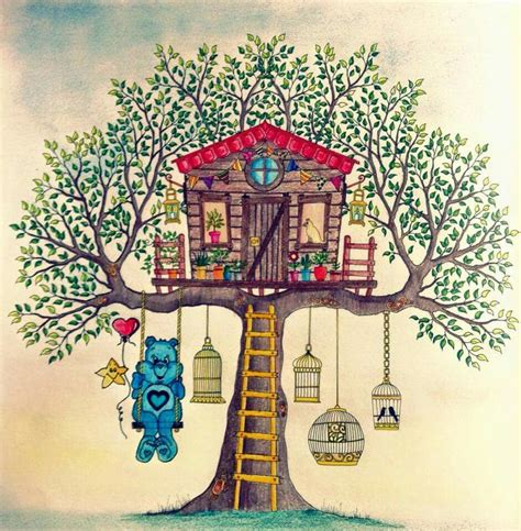 secret garden colouring book guardian jardim secreto casa na arvore johanna basford casa da