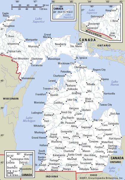 united states map michigan michigan map
