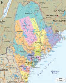 map of towns and counties political map of maine ezilon maps