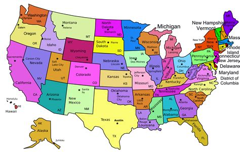 map of the united states and their capitals all the states and capitals map