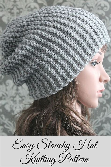 knit for beginners knitting pattern easy beginner knit slouchy hat pattern
