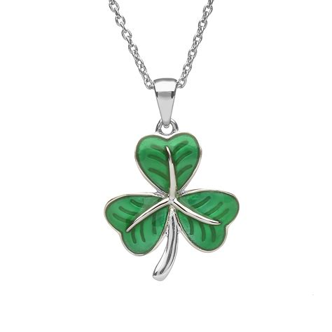 sterling silver shamrock pendant with green enamel