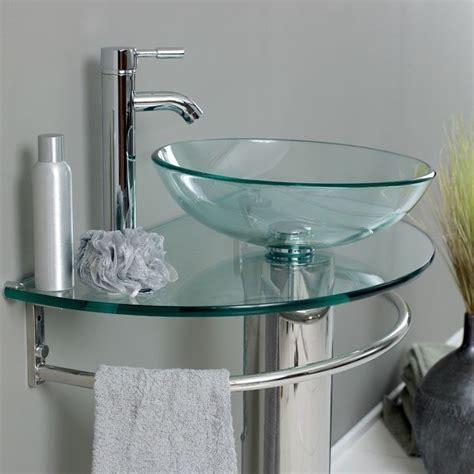 Pedestal Vessel Sink Bathroom Tempered Clear Pedestal Glass Vessel Sink